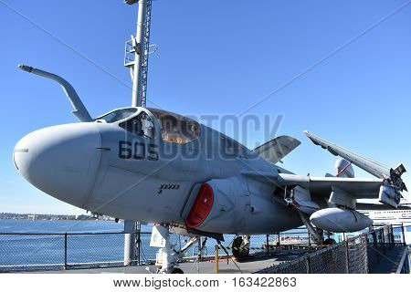 San Diego, California - Usa - Dec 04,2016 - Ea-6B Prowler Uss Midway Museum