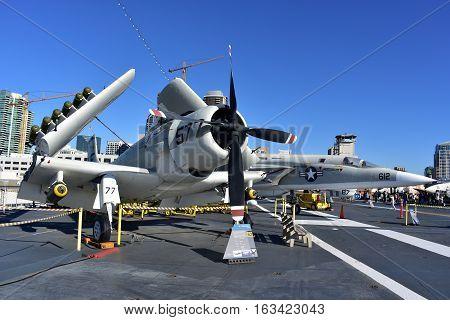 San Diego, California - Usa - Dec 04,2016 - A1 Sky Raider Uss Midway Museum