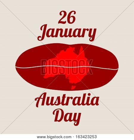 Map of Australia printed on woman lips. 26 January Australia Day text.