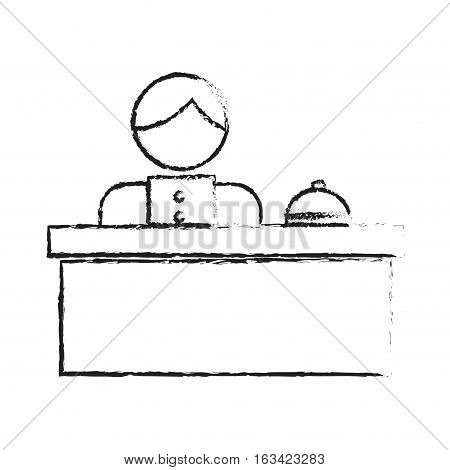 hotel reception with bellboy icon over white background. vector illustration