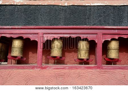 Tibetan Prayer Wheels Or Prayer's Rolls