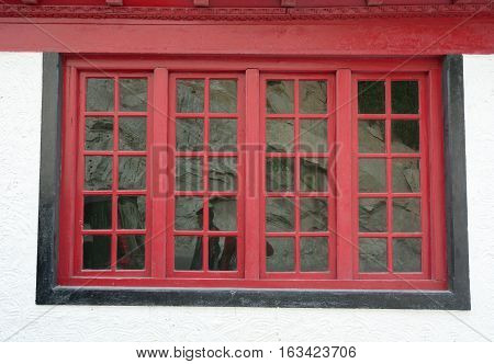 Red Window At The Tibetan Monastery