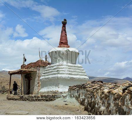 White Stupa At The Tibetan Monastery In Ladakh