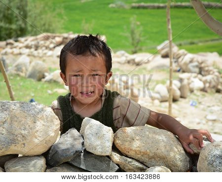 Tibetan Boy At A Village In Nubra Valley, India
