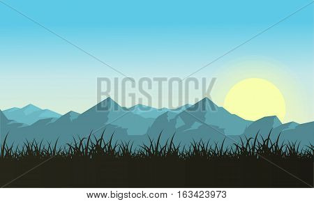 Illustartion of mountain with sun landscape collection