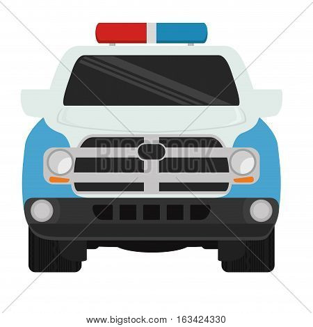 police car icon over white background. colorful design. vector illustration