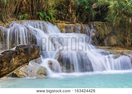 the Kuang Si Waterfalls Luang Phrabang Laos.
