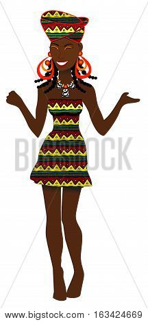 Vector of African Party Girl with cute dress.