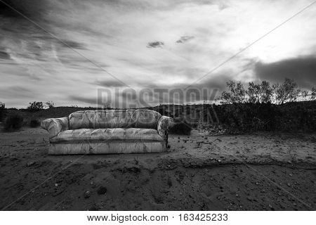 Isolated sofa outside in the Desert - Landscape