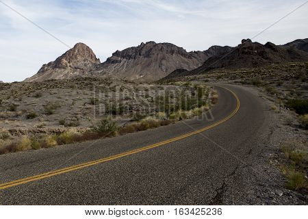 Isolated desert road - old route 66 through Arizona