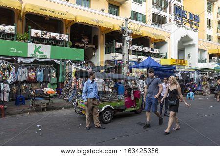 BANGKOK THAILAND - DEC 24 : tuktuk taxi service in Khao San road on december 24 2016. tuktuk is popular server for tourist in Bangkok.