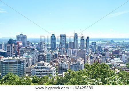 MONTREAL CANADA - AUGUST 23 2016 : Scenic view of downtown Montreal in summer