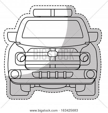 sticker of pick up truck vehicle icon over white background. vector illustration
