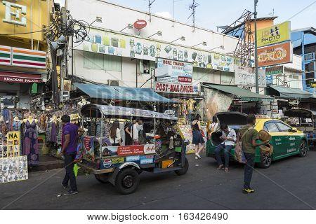 BANGKOK THAILAND - DEC 24 : tuktuk car in Khao San road on december 24 2016. Khao San road is big tourist hub of Bangkok.