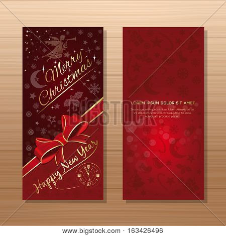Christmas flyer template. Red background with Christmas angel, Christmas decorative elements and greeting inscription - Merry Christmas and Happy New Year. Vector gift card