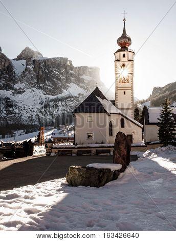 Skiing Dolomites Winter cabin traditional alpine life