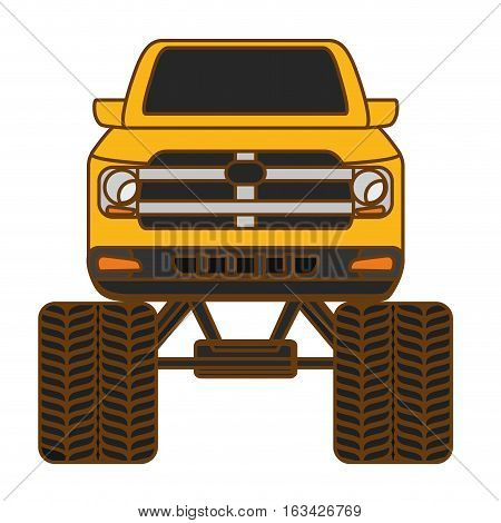 pick up truck vehicle icon over white background. colorful design. vector illustration