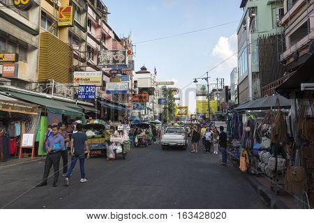 BANGKOK THAILAND - DEC 24 : evening view of Khao San road on december 24 2016. Khao San road is big tourist hub of Bangkok.