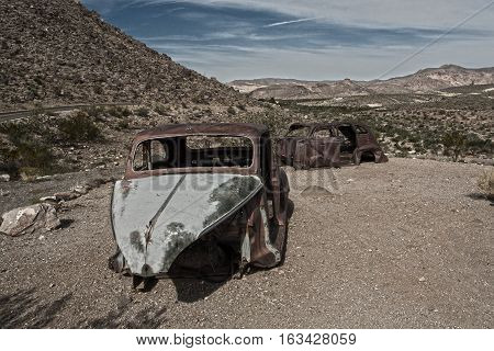 Abandoned and delapidated cars in Arizona desert