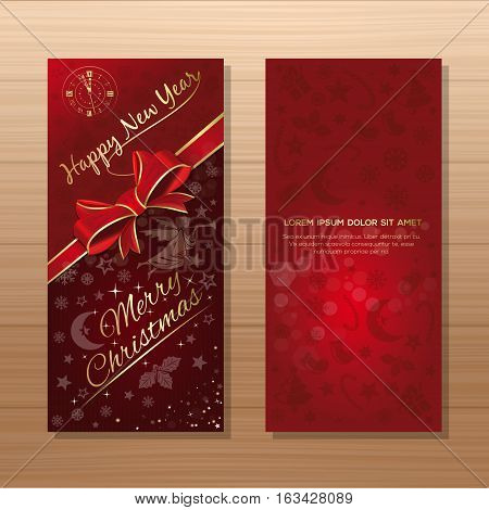 Christmas flyer template. Red background with Christmas angel, clock, Christmas decorative elements and greeting inscription - Merry Christmas and Happy New Year. Vector gift card