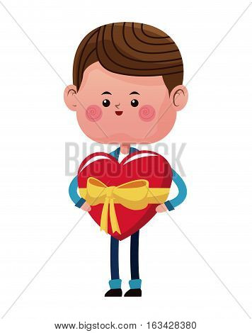 boy holding big red heart ribbon vector illustraton eps 10
