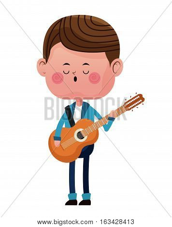 boy standing singing song guitar love vector illustration eps 10