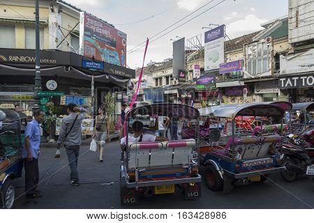 BANGKOK THAILAND - DEC 24 : parking of tuktuk car in Khao San road on december 24 2016. tuktuk is popular server for tourist in Bangkok.