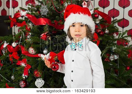 Beautiful kid boy standing in front of Christmas natural tree