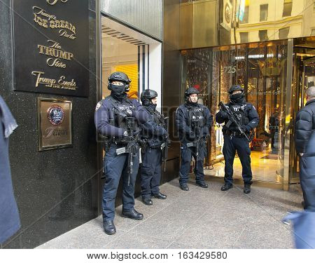 NEW YORK NEW YORK - DECEMBER 19: Police stand guard in front of Trump Tower on 56th street and 5th avenue in Manhattan. Taken December 19 2016 in New York City.