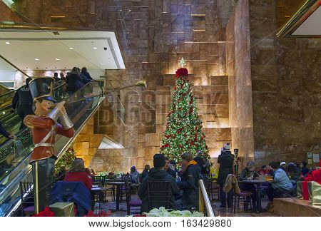 NEW YORK NEW YORK - DECEMBER 19: Inside Trump Tower on 56th street and 5th avenue in Manhattan. Taken December 19 2016 in New York City.