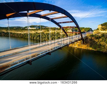 The Pennybacker Bridge also known as the 360 Bridge is an Austin Texas Landmark, a symbol of the Original Artistic Modern Architecture and Success of the Gorgeous Texas Hill Country Capital City