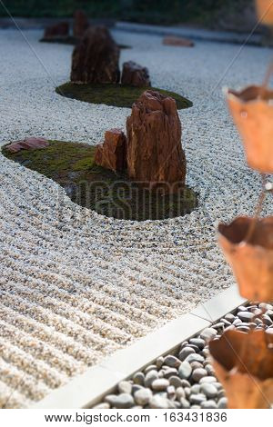 Vintage rain waters way-out in zen garden stock photo