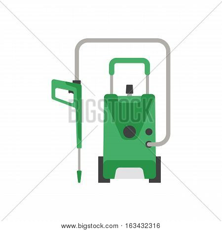 Professional vacuum cleaning equipment isolated on white background. Vector service housework tool. Room floor hygiene product disinfect chemical washing.