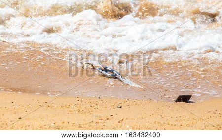 The Anchor on the sand beach with sea wave.