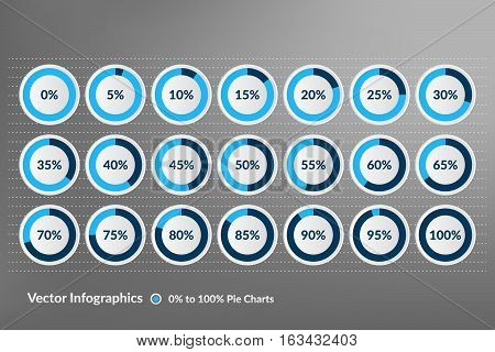 Percentage vector infographics. 0 to 100 percent blue and grey pie charts.