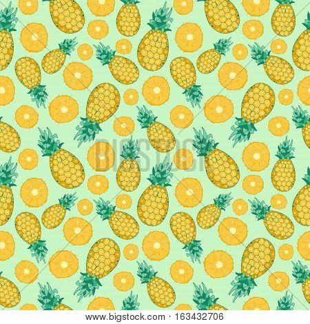 Cartoon fresh fruits in flat style. pineapple seamless pattern. Fruits seamless patterns food summer design wallpaper .