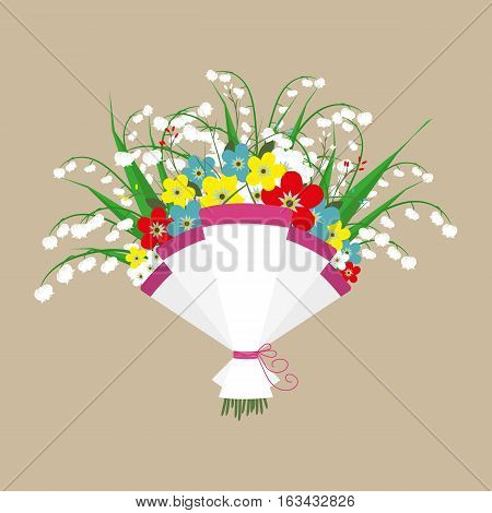 Cute bouquet of flowers. Wedding bouquet flowers, birthday bouquet flowers, vector illustration in flat design