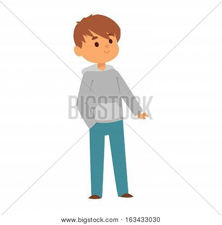 Boy portrait fun expression and cute vector illustration. Teenager cartoon character and happyness little man. Human cheerful joy casual childhood life.