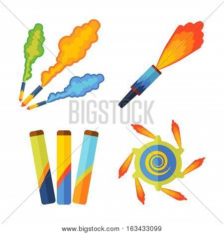 Pyrotechnic rockets. Vector illustration fireworks fountain, roman candle, beautiful rocket. City anniversary traditional evening sparkle design.