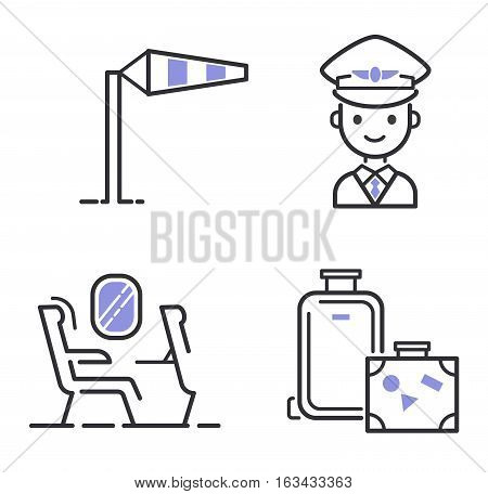 Aviation icons vector set line graphic illustration. Vector flight transportation passenger design. Departure cargo world luggage boarding aircraft.