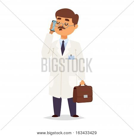 Doctor character vector isolated. Vector illustration of help person profession on white background. Flat style medical pediatrician man in white uniform.
