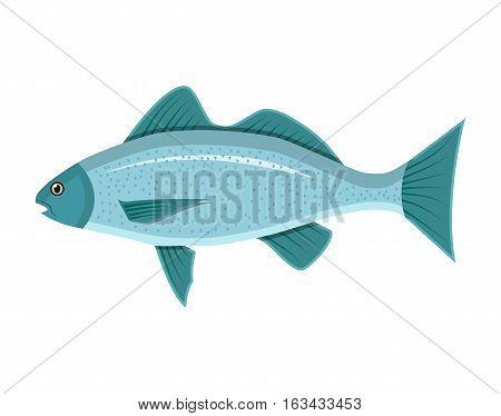 Generic sea fish. Vector illustration in flat style