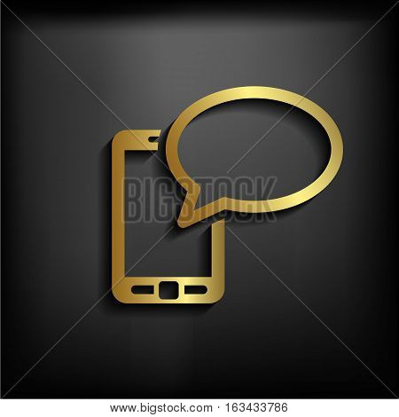 Mobile Chatting Icon.mobile Phone Representing Web Chatting And Dialog.with Gold Color