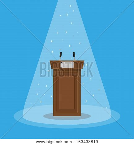 Brown wooden podium tribune rostrum with microphones and light projector. vector illustration in flat style