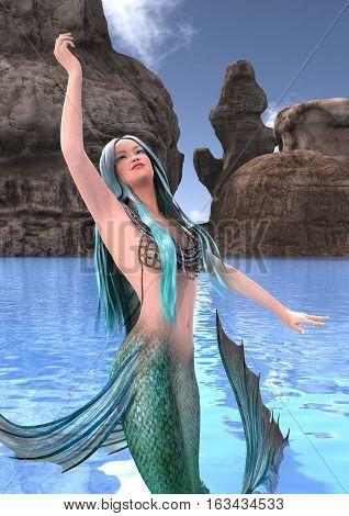 3D rendering of a beautiful fantasy mermaid on a blue ocean background