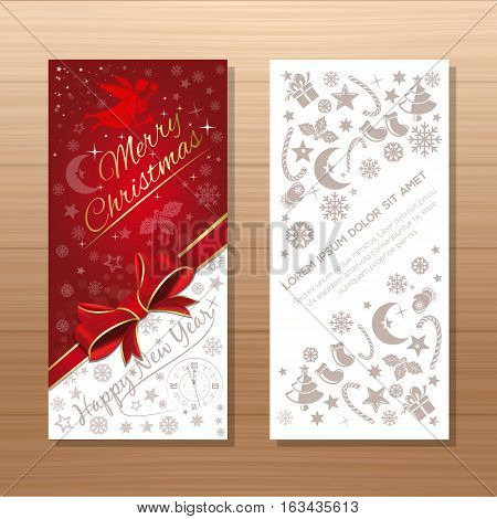 Christmas flyers template. Background with Christmas angel, clock, Christmas decorative elements and greeting inscription - Merry Christmas and Happy New Year. Vector gift card