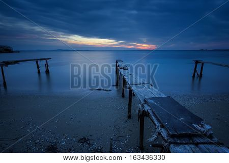 The blue hour, long exposure after sunset at the village of Ravda, Bulgaria