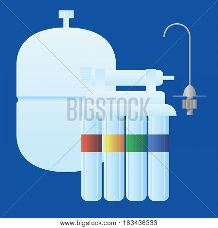 Reverse osmosis water treatment sysem consisting of filters membrane water tank and tap. Objects are logically grouped for easier manipulation