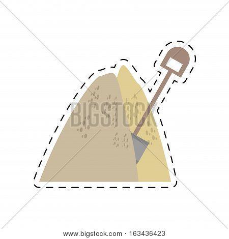 mining mineral sand pile shovel cut line vector illustration eps 10