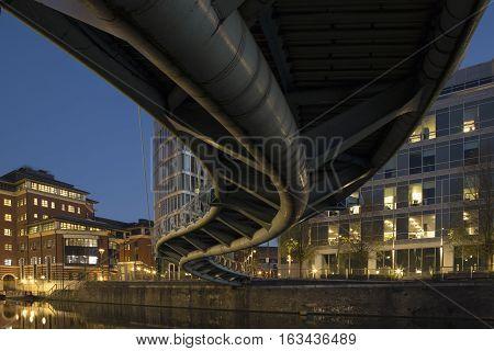 Temple Quay Bridge in Bristol by night Bristol England UK